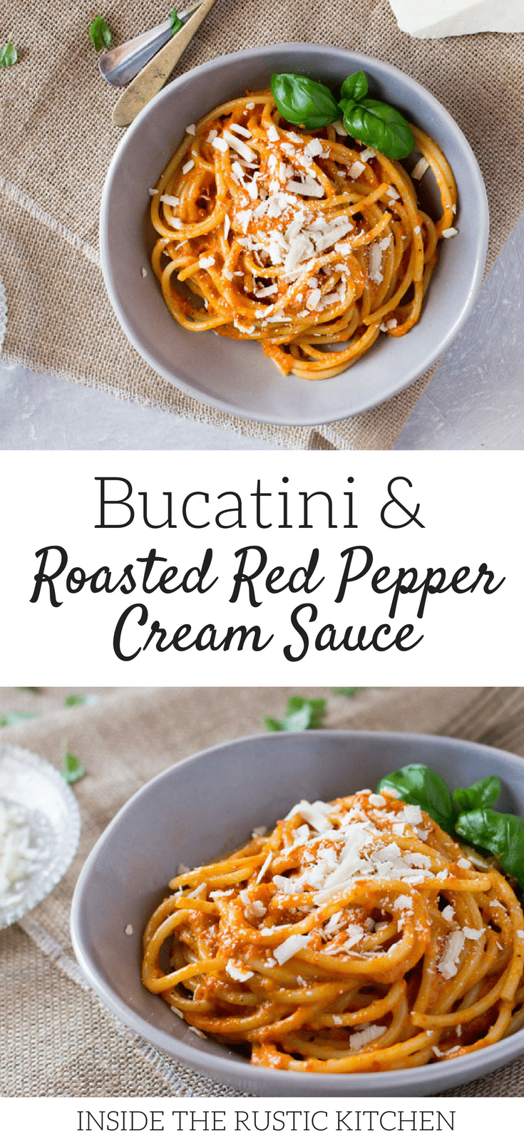 Bucatini pasta with a roasted red pepper cream sauce recipe topped with shavings of ricotta salata. A super easy pasta recipe for weeknights. inside the rustic kitchen