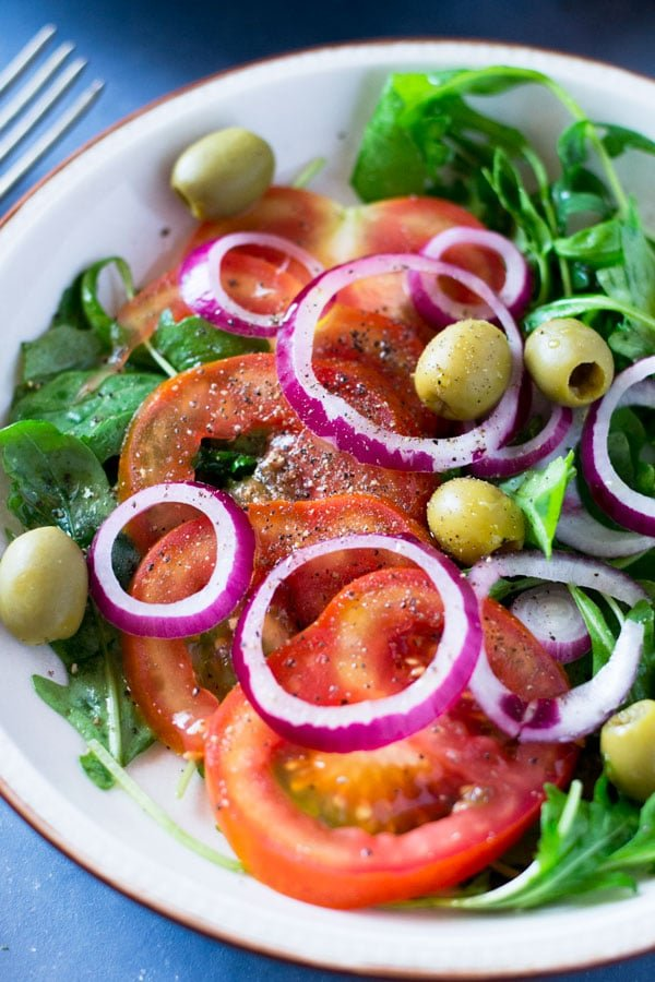 Fresh Tomato Salad With Onion And Olives