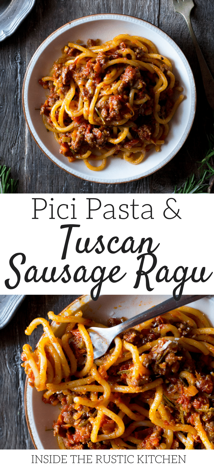 A flavour packed Tuscan sausage ragu made with the best Italian sausages, fennel seeds, red wine and garlic. An easy Italian ragu recipe perfect to make ahead for a weeknight meal or for weekends. Find more Italian pasta recipes and authentic Italian recipes at Inside the rustic kitchen.