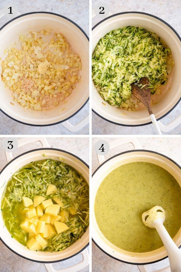 Step by step photos for making creamy zucchini soup