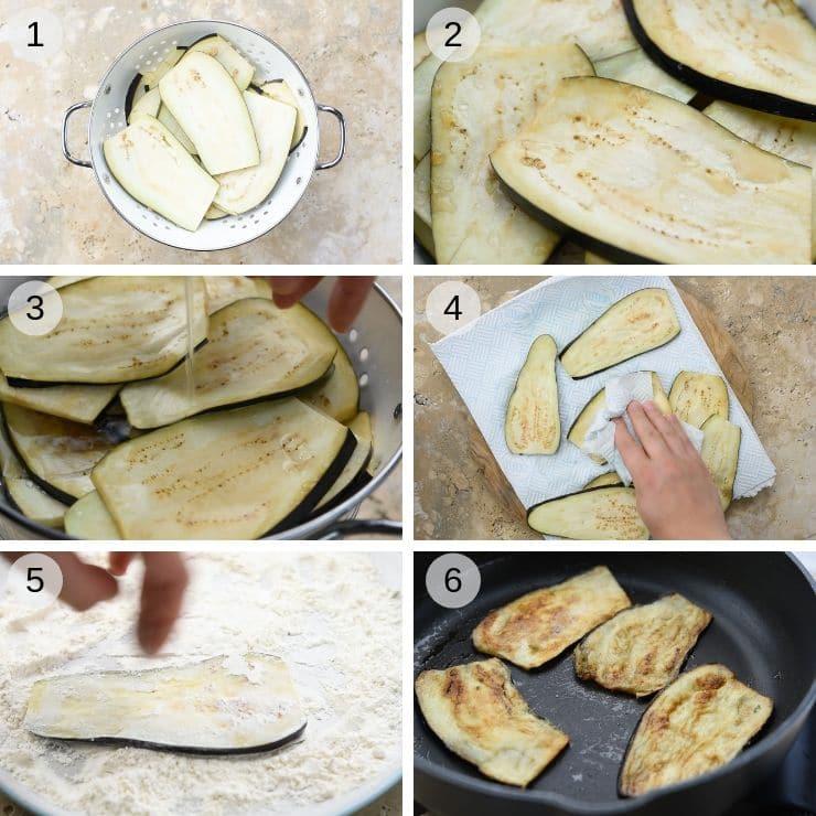 Step by step photos for how to prepare eggplant for eggplant parmigiana