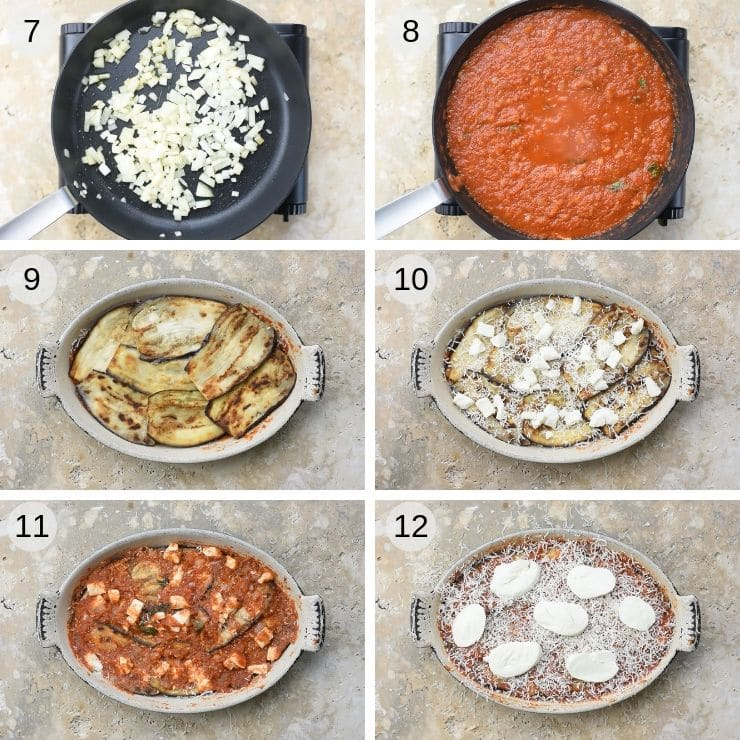 Step by step photos for assembling eggplant parmigiana
