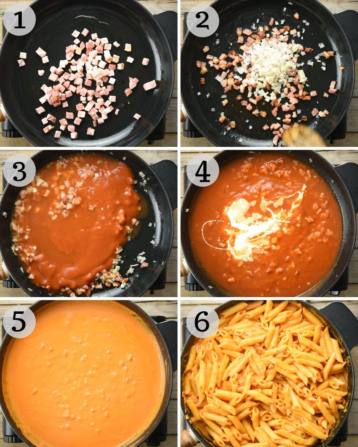 Step by step photos for making penne alla vodka