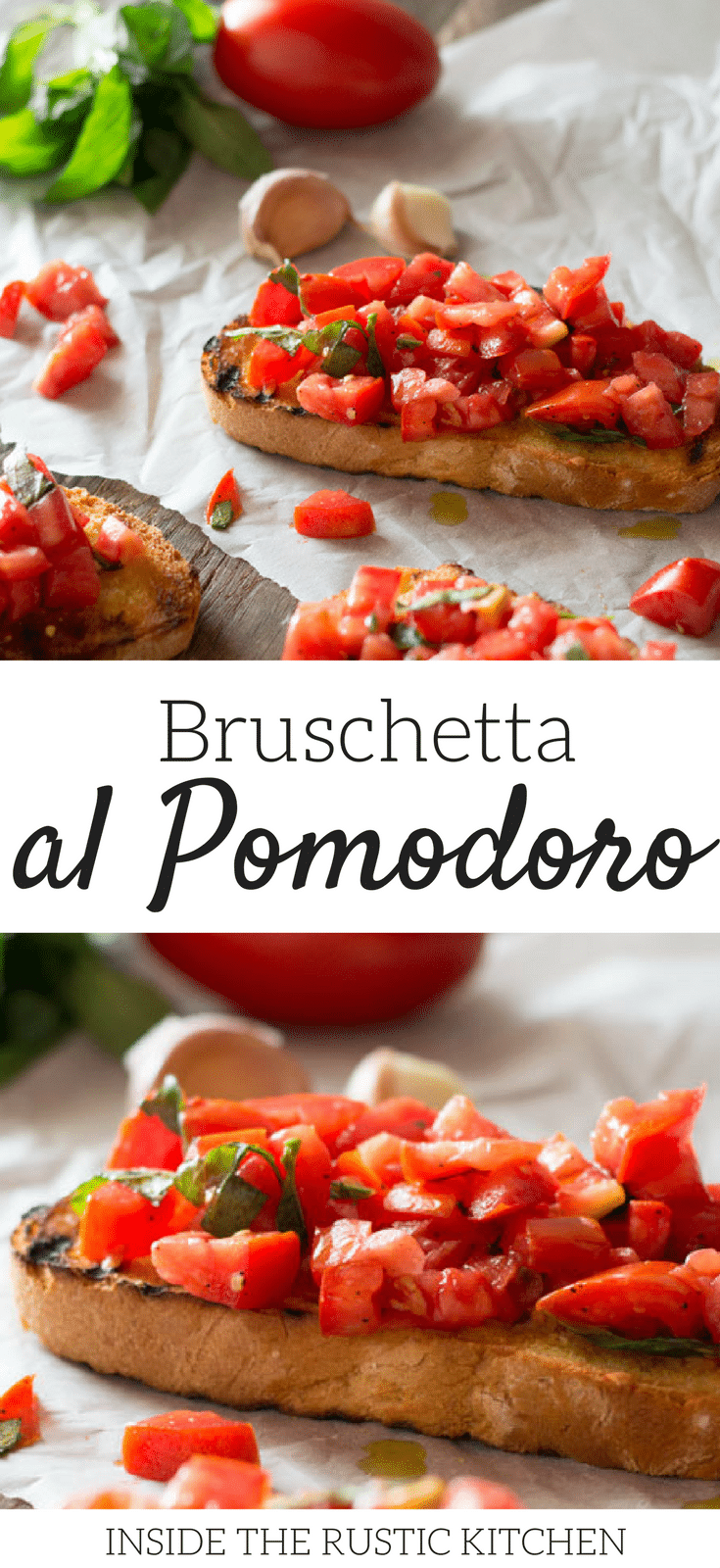 Bruschetta al pomodoro - classic Italian tomato bruschetta recipe made with ripe, juicy tomatoes, fresh basil and extra virgin olive oil. Served on char grilled, garlic toasts, this one is always a winner! Authentic Italian recipes at Inside the rustic kitchen