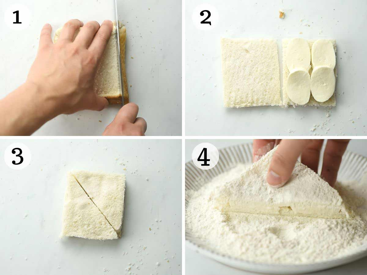 Step by step photos showing how to prepare fried mozzarella sandwiches
