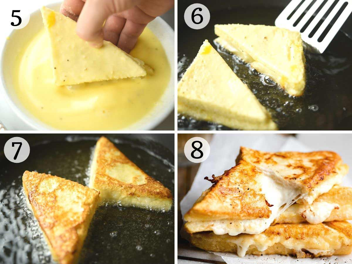 Step by step photos showing how to fry mozzarella in carrozza sandwiches