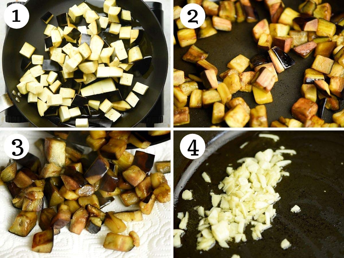 Step by step photos showing you how to fry eggplant