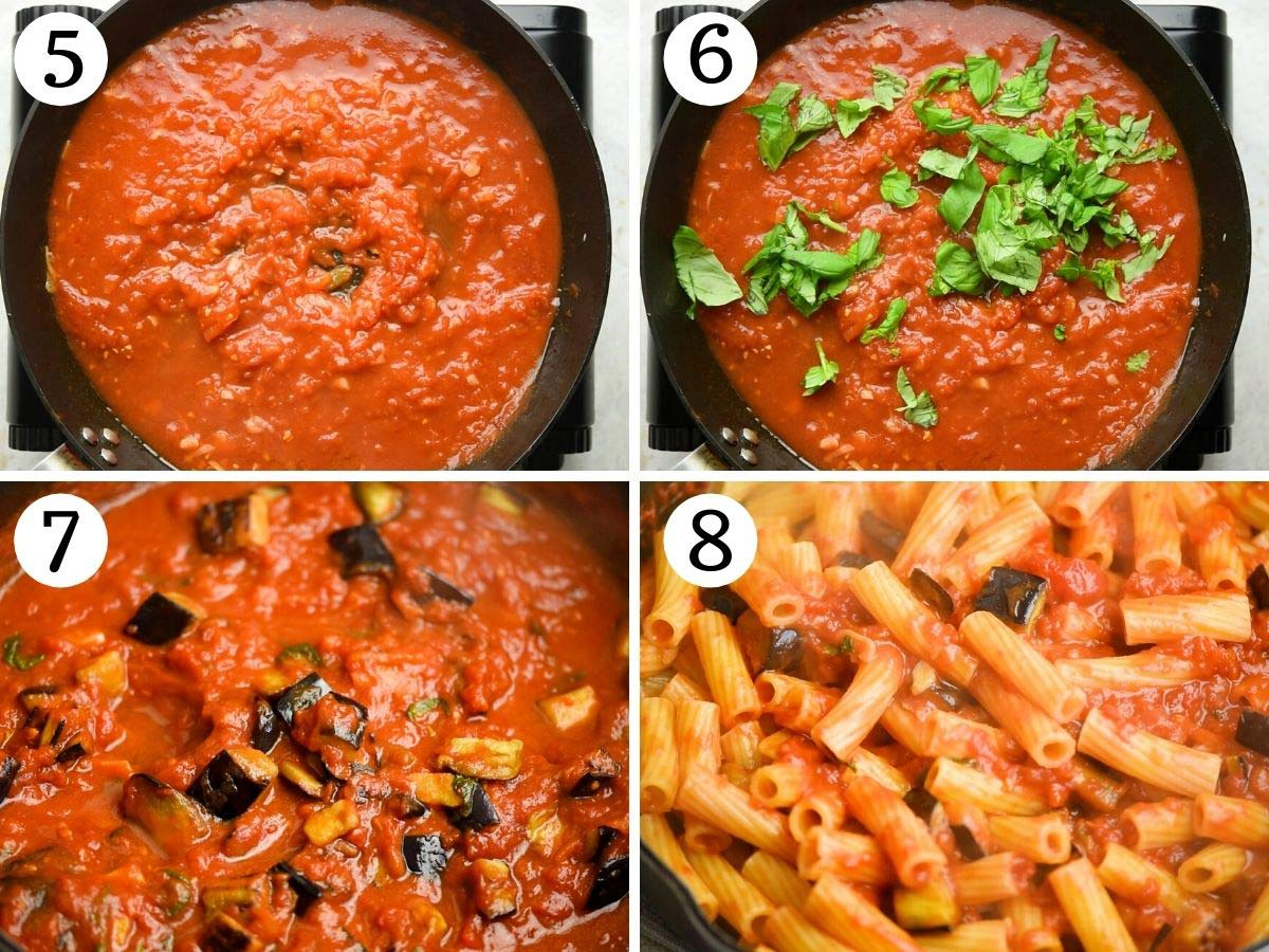 Step by step photos showing how to make Pasta alla Norma pasta sauce