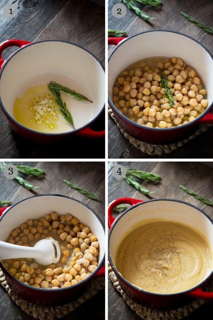 Step by step photos on how to make Tuscan chickpea soup