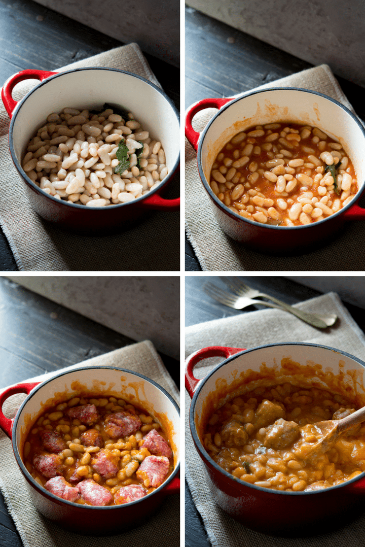 Step by step photos on how to make Tuscan bean stew with sausages