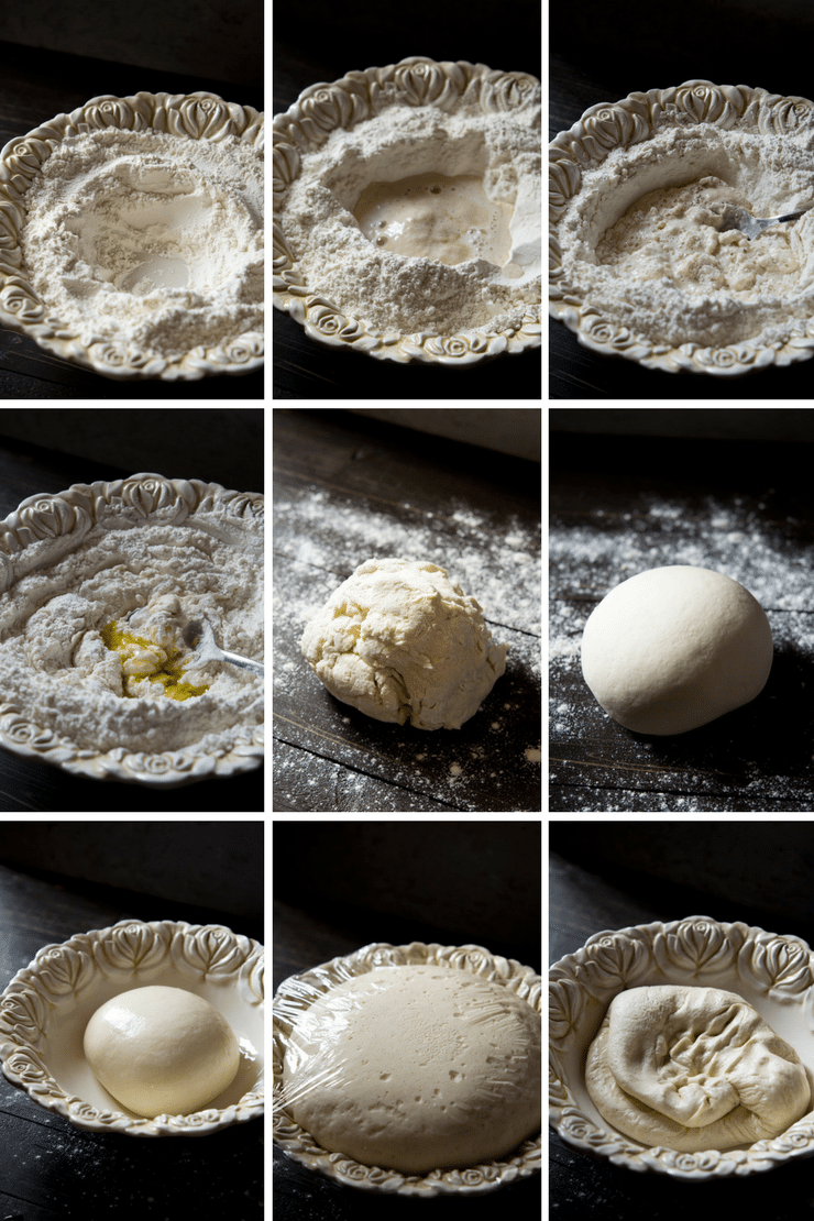 step by step photos on how make basic pizza dough for a basil pesto pizza recipe