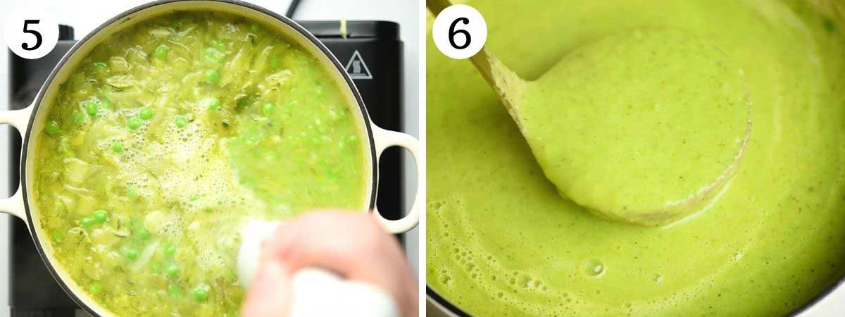 Two photos showing soup before and after blending