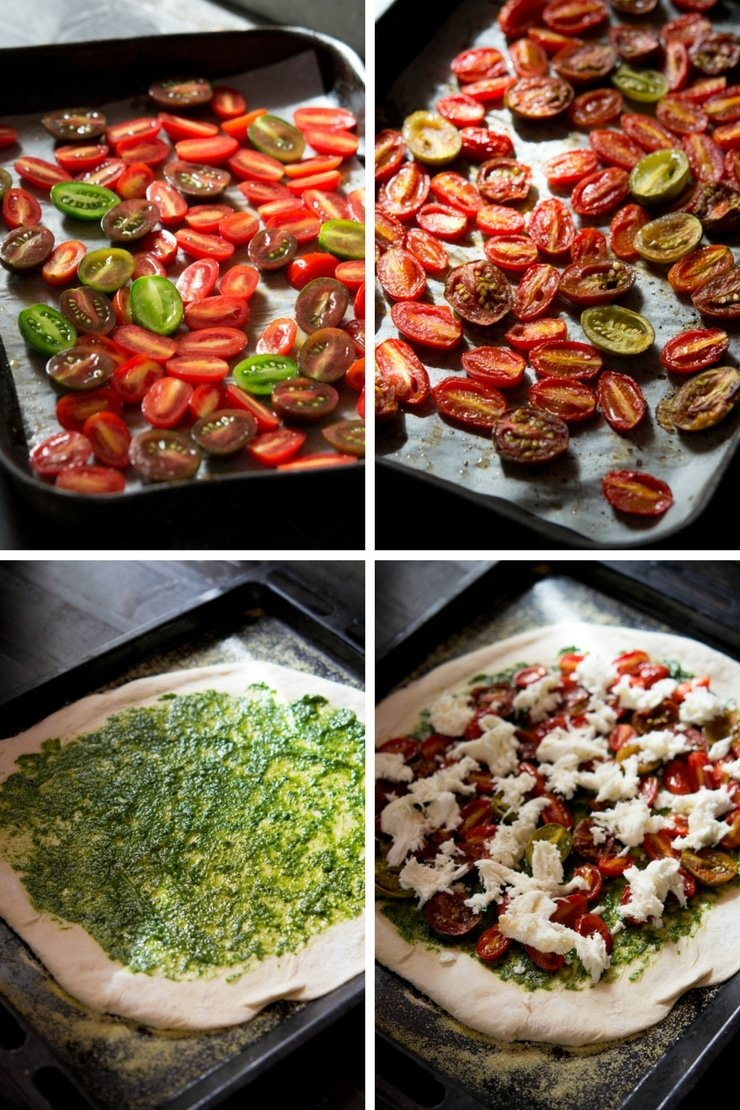 step by step photos on how to roast tomatoes and make a basil pesto pizza