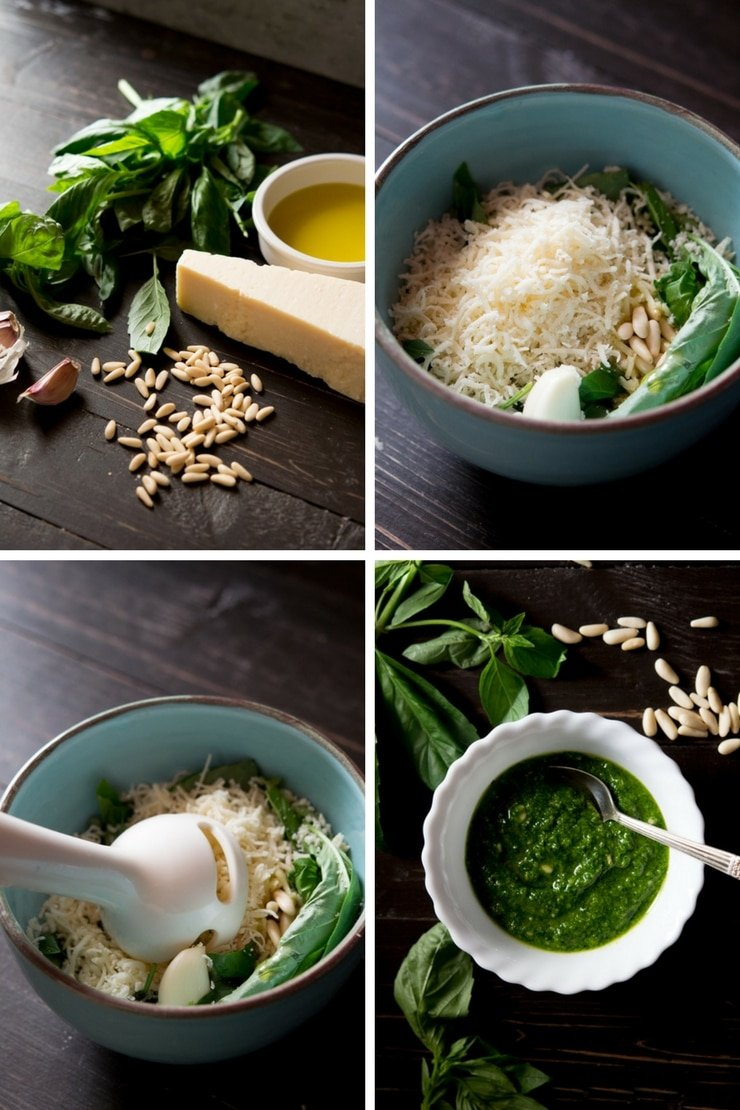 Step by step photos on how to make basil pesto