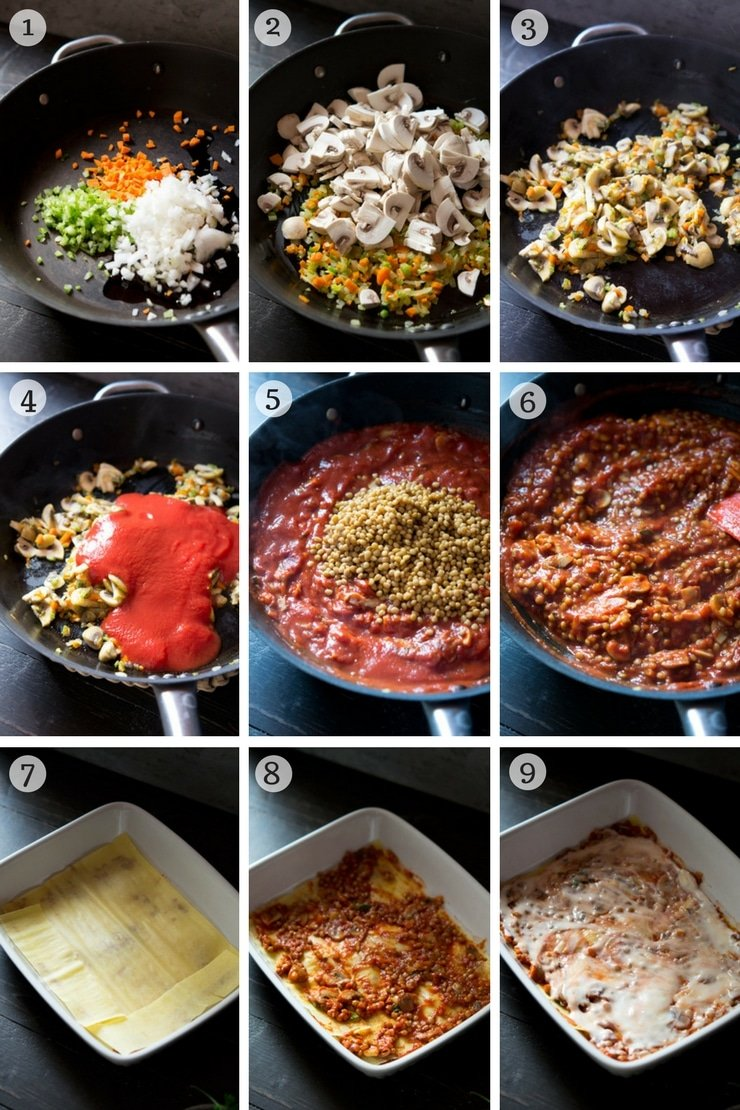 Step by step photos on how to make lentil ragu lasagne