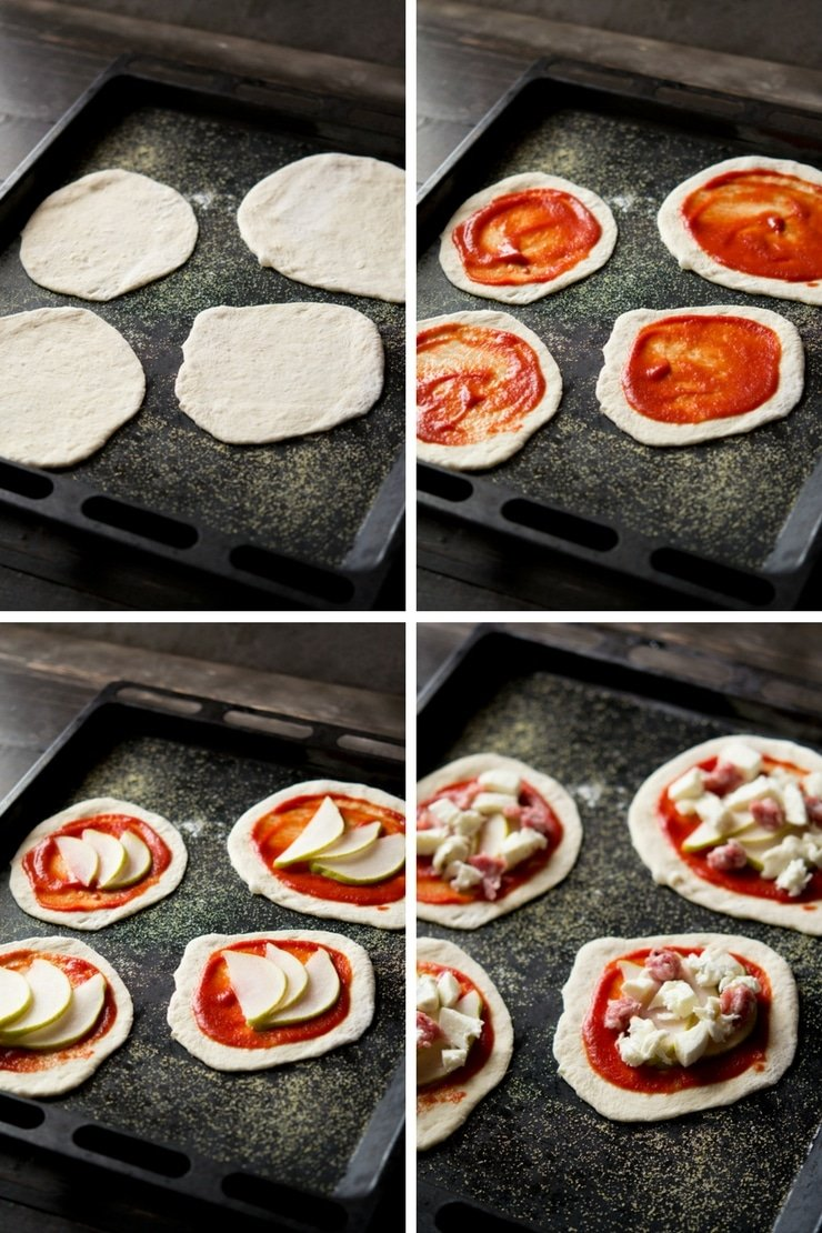 Step by step photos on how to make mini sausage pizzas