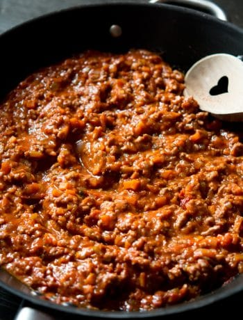 A close up of beef ragu, a classic Italian recipe