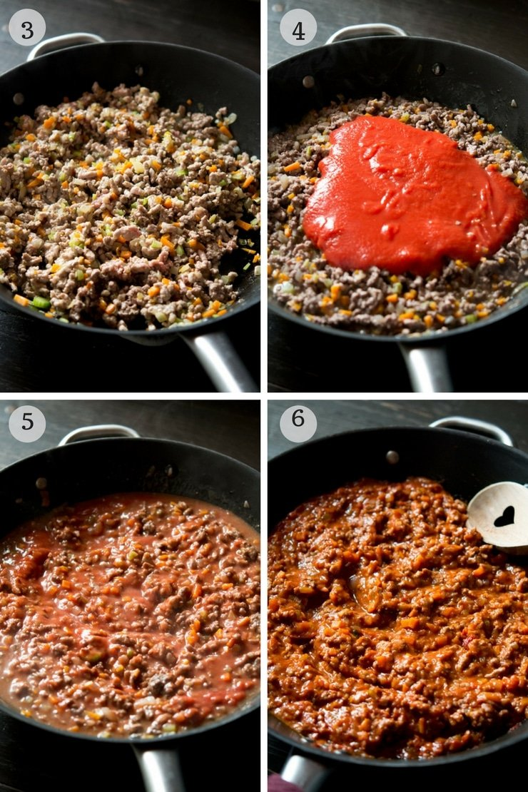 Step by step photos showing how to make Italian beef ragu