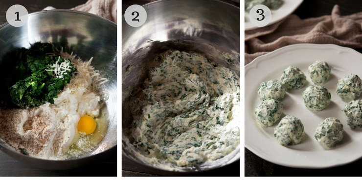 Step by step photos for how to make broccoli rabe and ricotta gnudi
