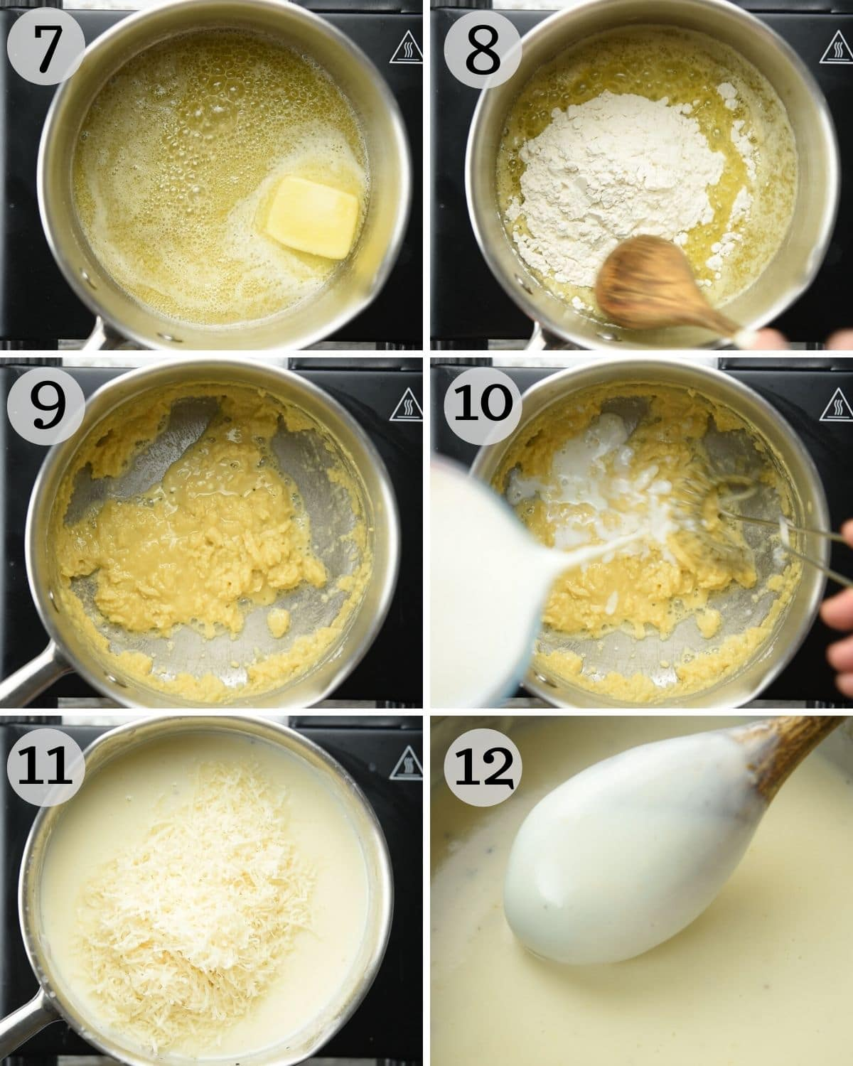 Step by step photos for making bechamel sauce