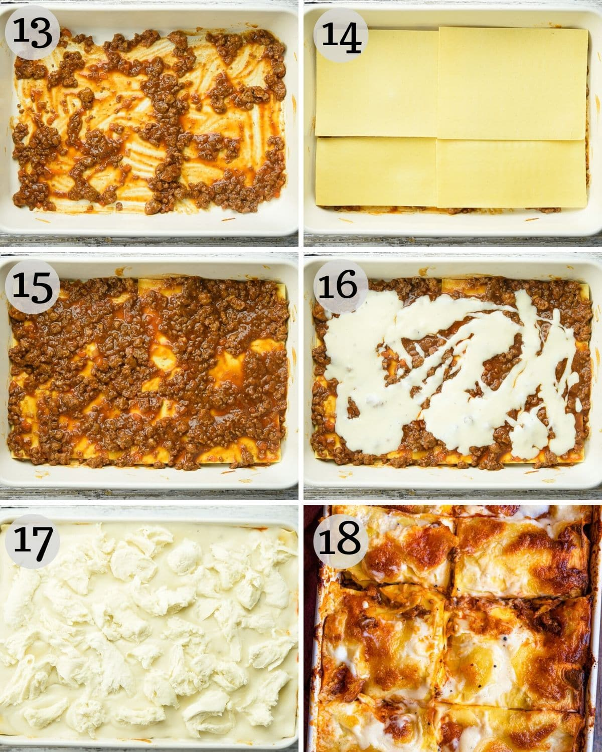 step by step photos for how to assemble a beef lasagne