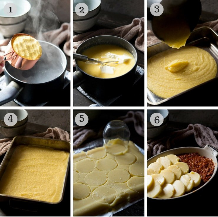Step by step instructions for how to make a ragu wth baked polenta