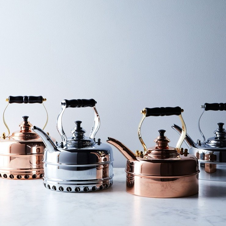 copper tea kettle for last minute foodie gift guide photo inside the rustic kitchen