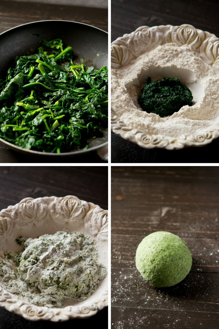 Step by step photos for making spinach pasta for beef lasagne