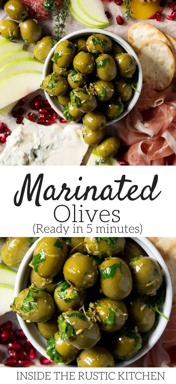 Easy marinated olives made with herbs, spices and lemon zest. These marinated, gourmet olives are so easy to make and are ready in 5 minutes. A perfect addition to an antipasto platter or as an appetizer with drinks. #easyappetizers #olives#Italianfood #Italianrecipes #appetizers