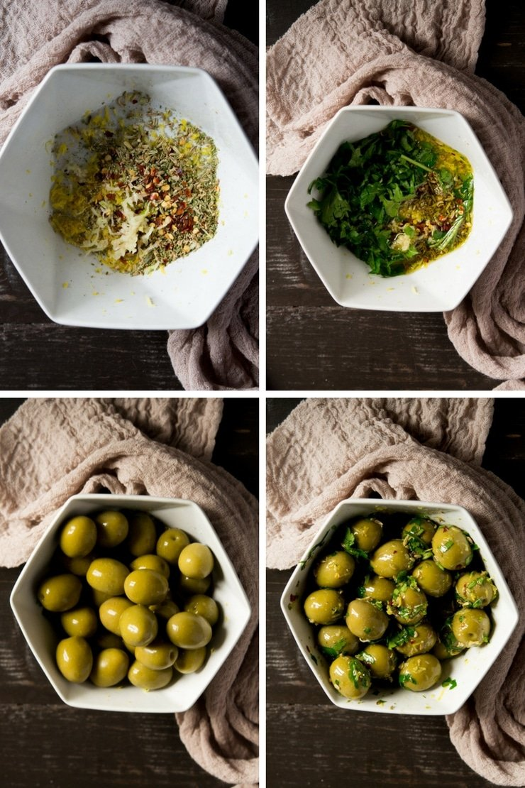 Step by step photos for making marinated olives