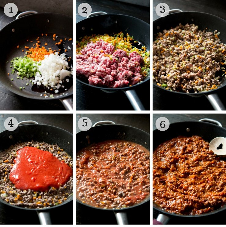 Step by step instructions for how to make beef and sausage ragu wth baked polenta