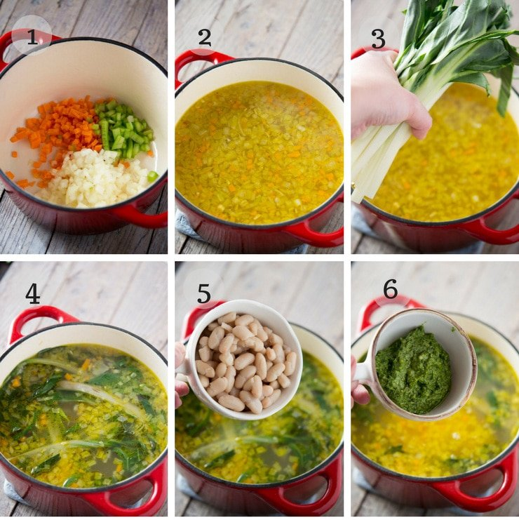 step by step photos for making a vibrant green soup with beans