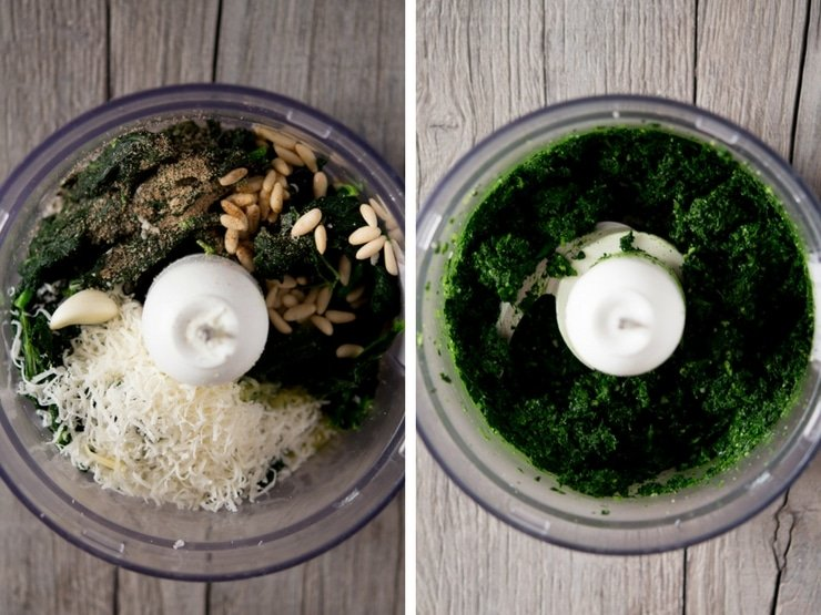 Step by step photos for making pesto pasta sauce