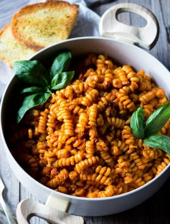 sun dried tomato pasta in a large pot