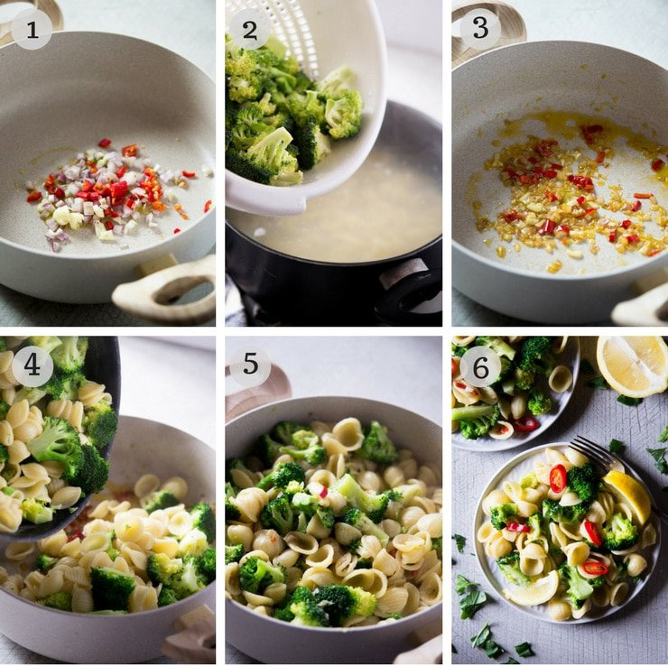 Step by step photos for making a healthy broccoli pasta
