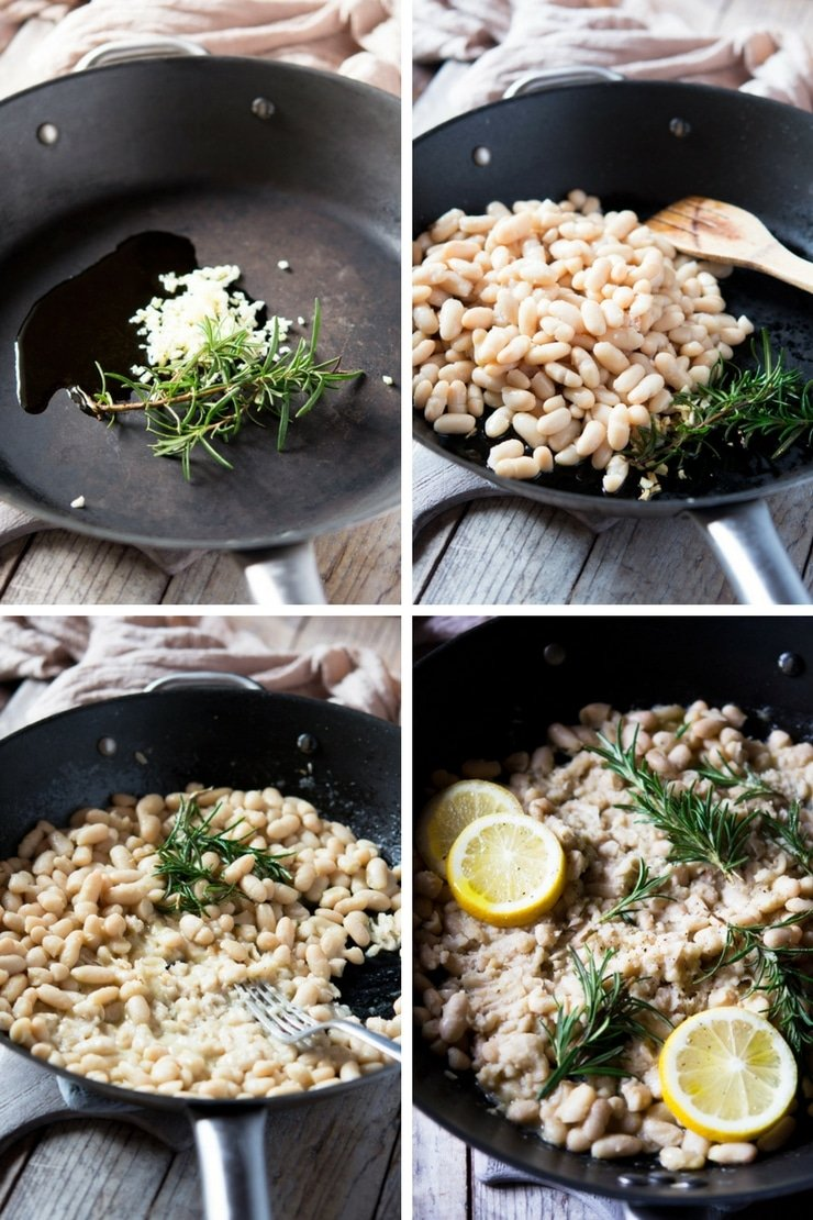 step by step photos of making cannellini bean mash with rosemary and lemon