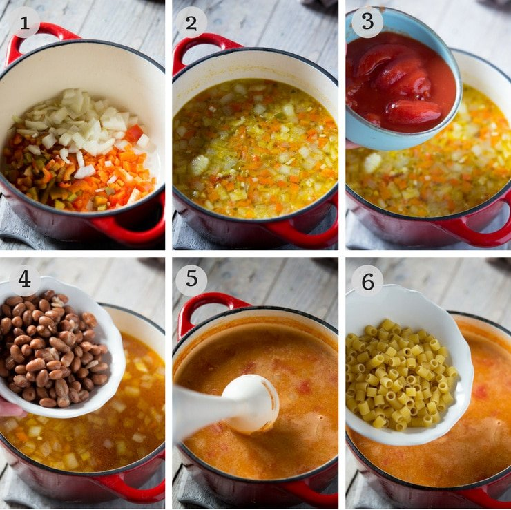 Step by step photos for making pasta fagioli soup