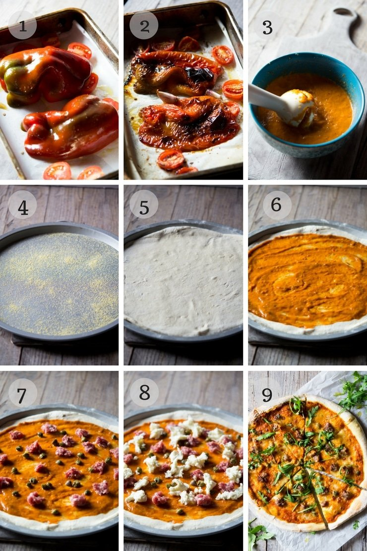 step by step photos for making pizza with sausage and roasted red pepper sauce