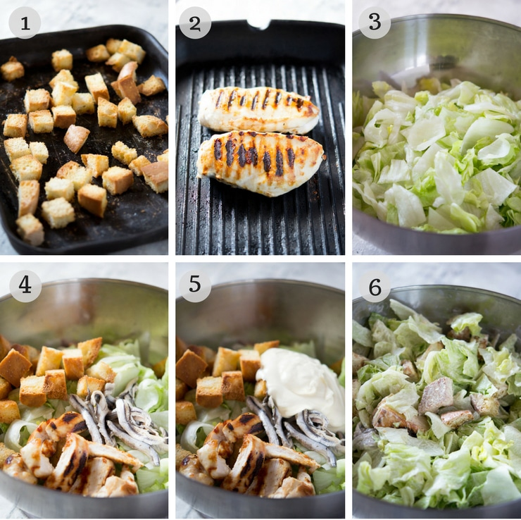 Step by step photos for how to make a grilled chicken caesar salad