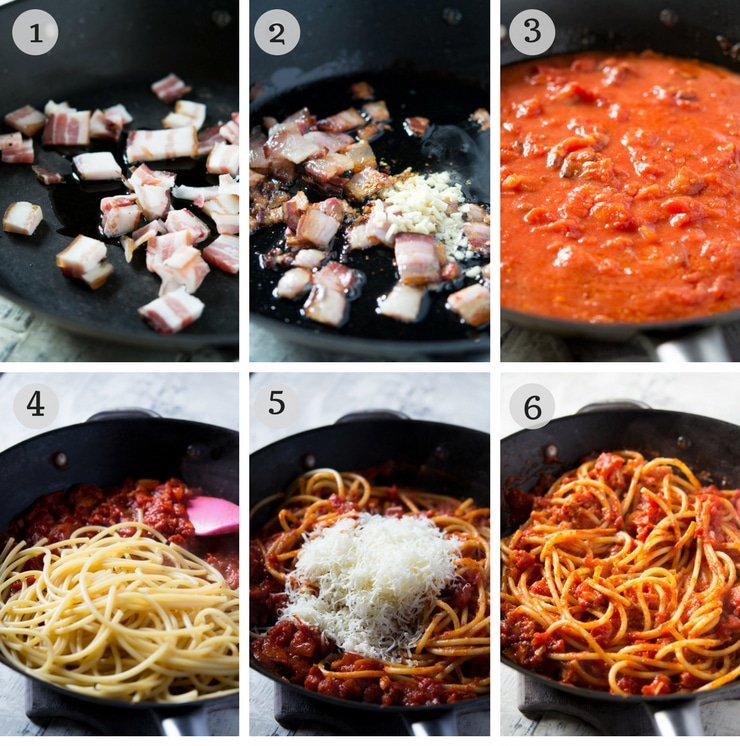 step by step photos for making pasta amatriciana