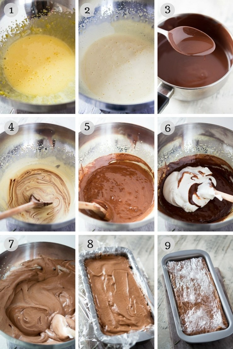 step by step photos for making a chocolate semifreddo recipe
