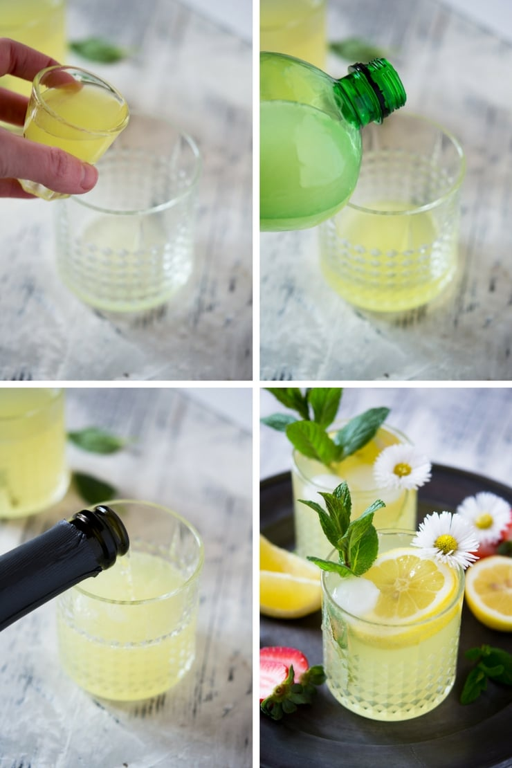 step by step photos for making a sparkling limoncello cocktail with prosecco