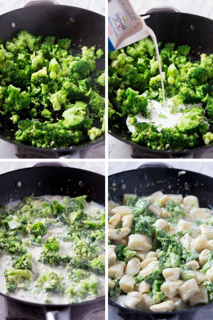 Step by step photos for making a broccoli parmesan cream sauce