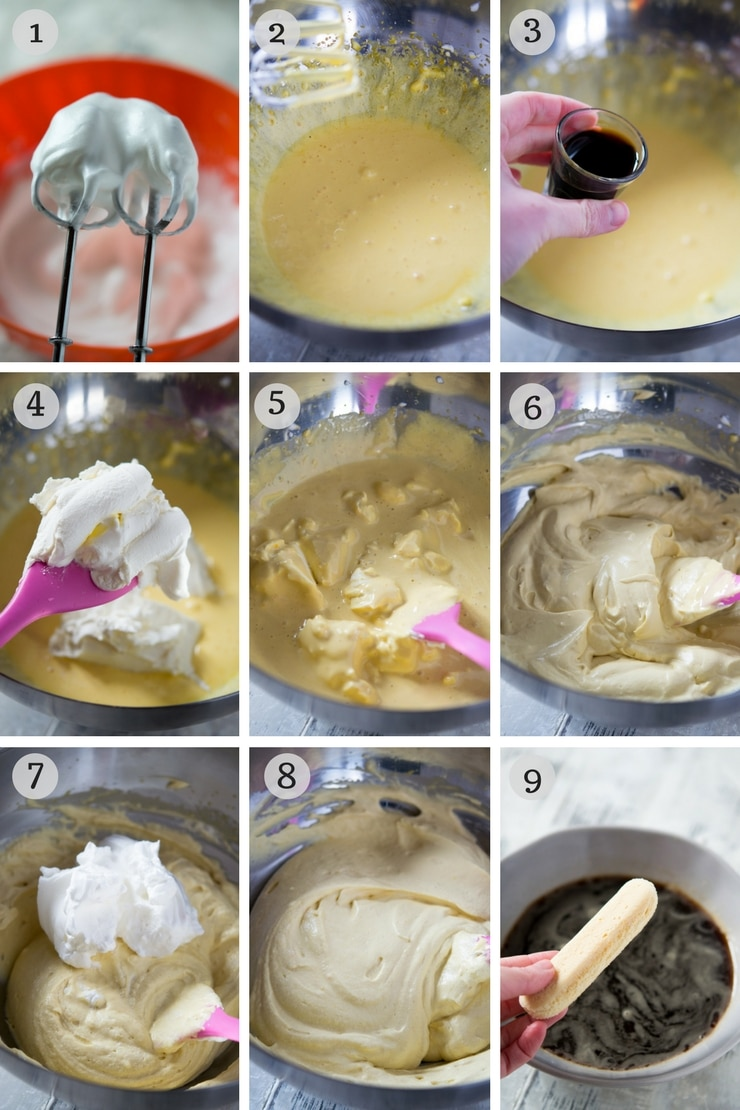 Step by step photos for making an easy Tiramisu