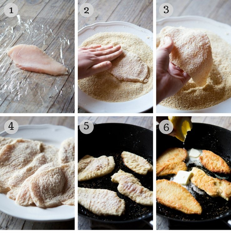 Step by step photos for making breaded chicken cutlets