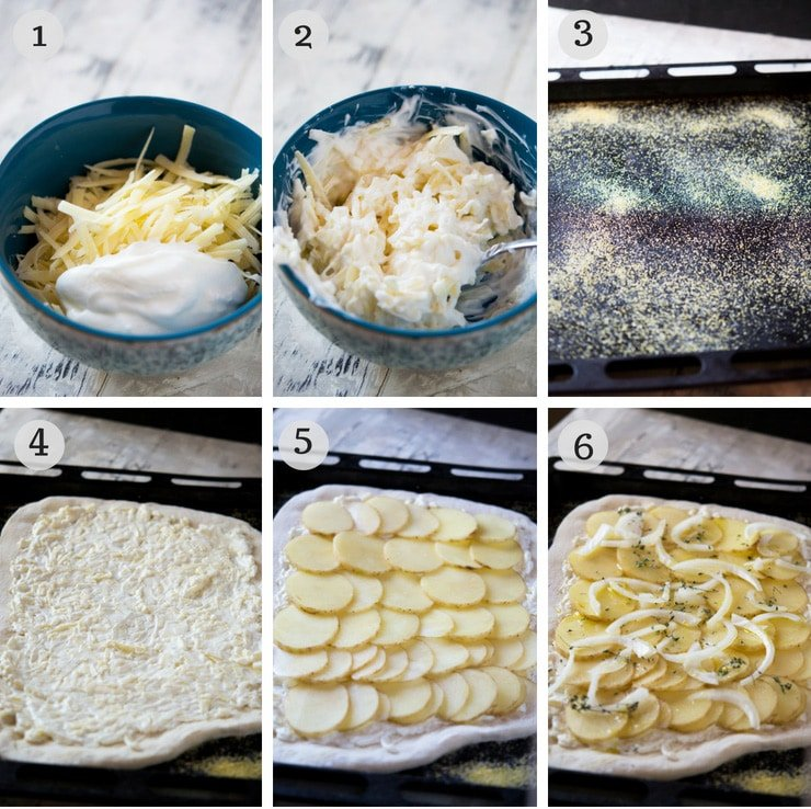 Step by step photos for how to make a cheesy potato pizza
