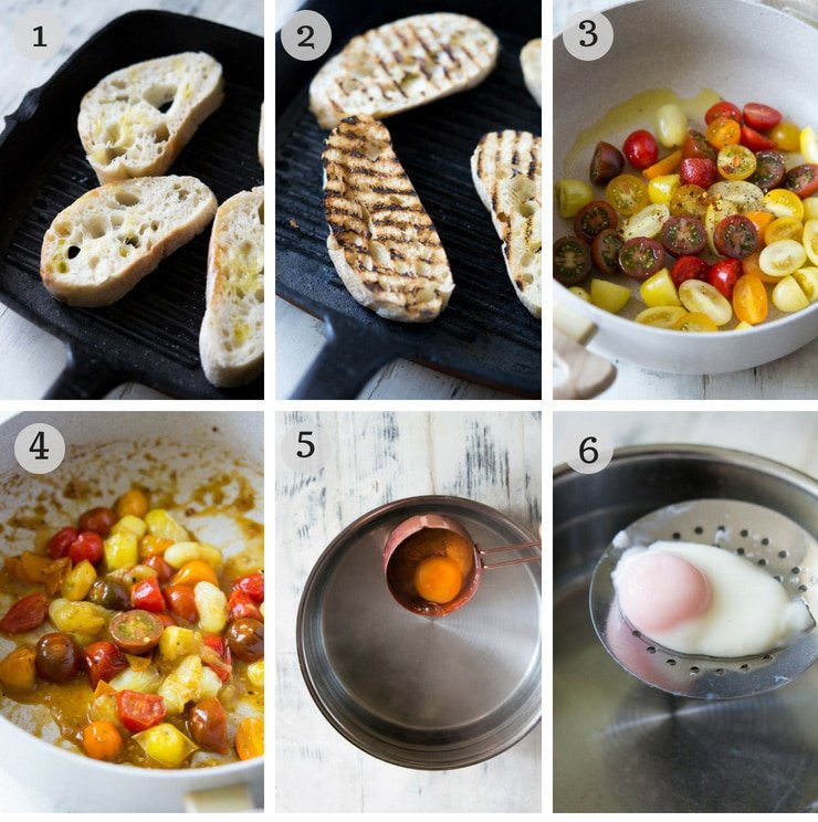 step by step photos for making tomato breakfast crostini with poached eggs