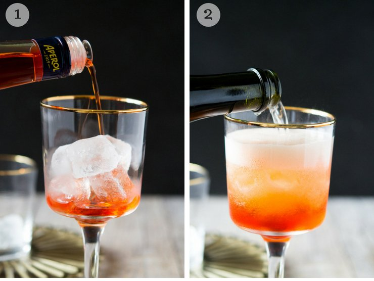 Process shots for making an Aperol spritz cocktail