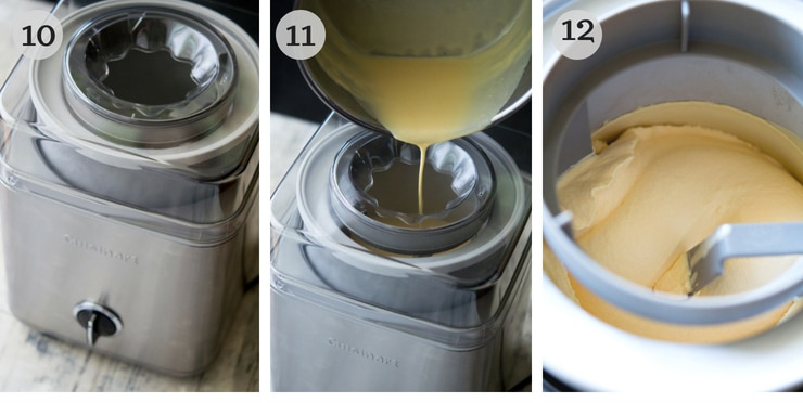 Step by step photos showing how to pour ice cream into an ice cream machine