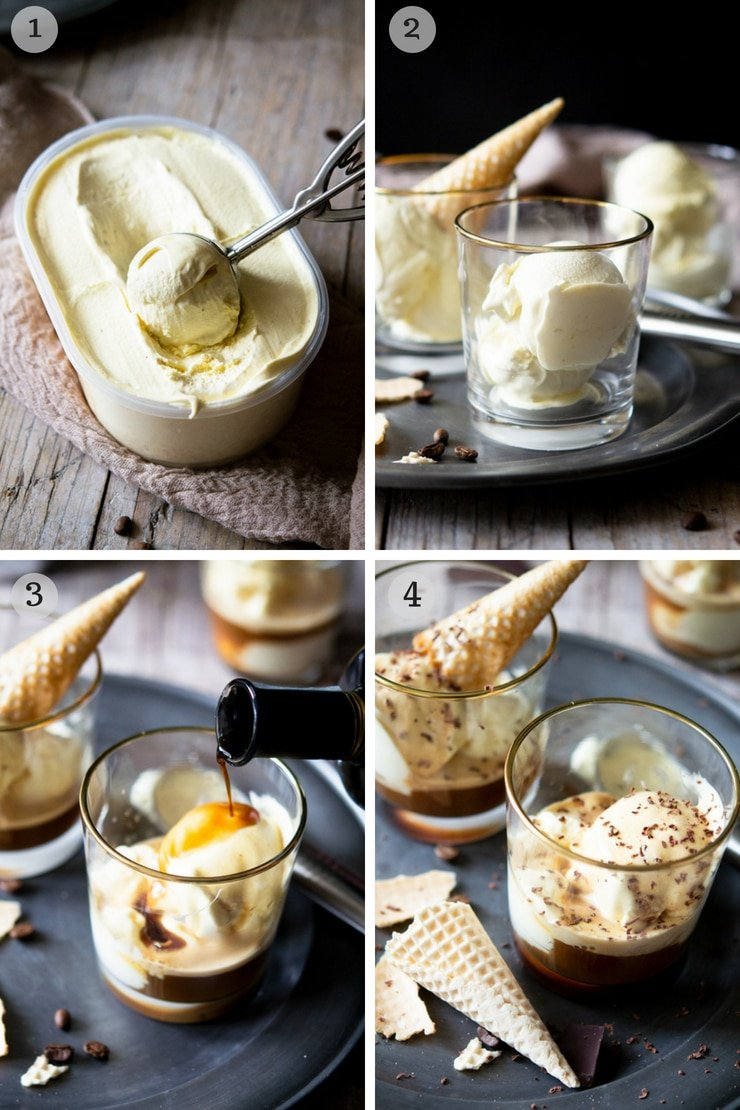Step by step photos for making an affogato dessert